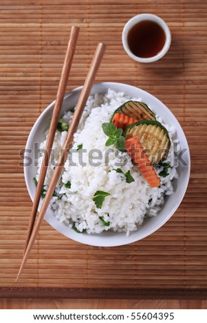 White rice and grilled zucchini - stock photo