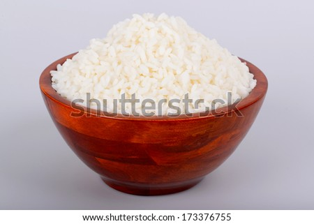 White rice in a bowl - stock photo