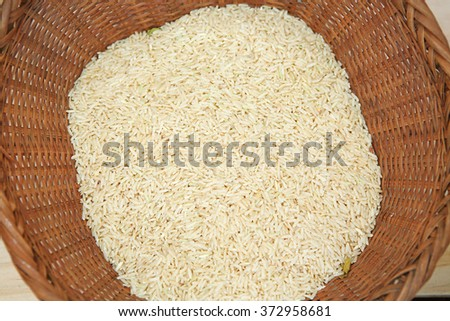 white rice in bamboo weave basket - stock photo