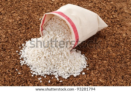 White rice in the bag