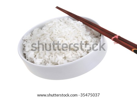 white rice inside bowl with china sticks - stock photo