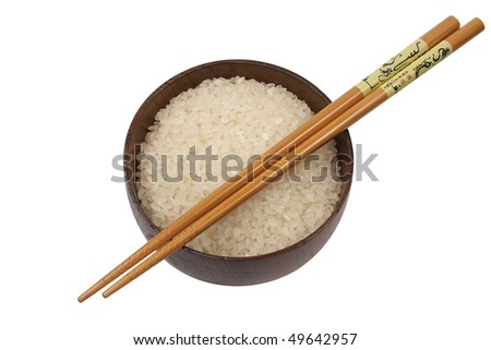 white rice on bowl with chopsticks isolated on white - stock photo