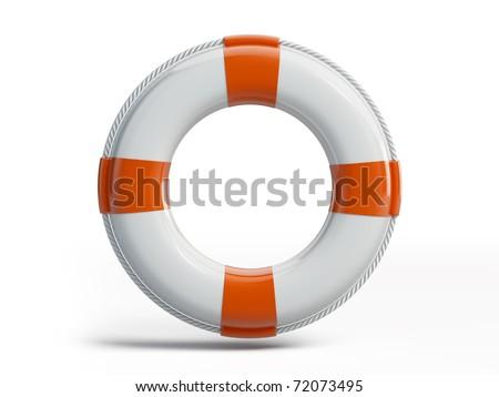 White Ring Buoy - stock photo