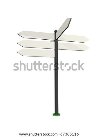 white road sign in a white background - stock photo
