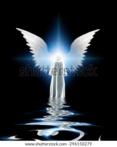 White robed figure and wings - stock photo