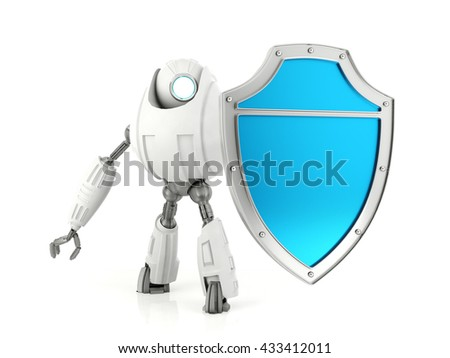 White robot holding blue shield isolated on white background, technology protection security concept, 3d rendering  - stock photo
