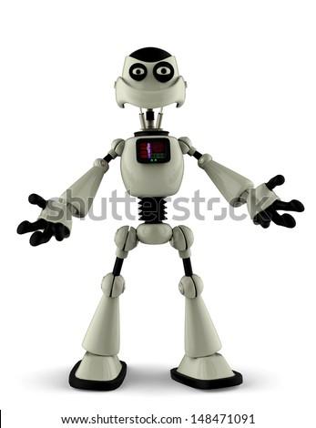 white robot open arms - stock photo