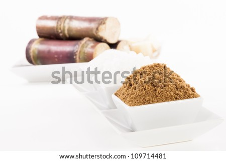 White, Rock, Brown Sugar in bowl and sugar cane - stock photo