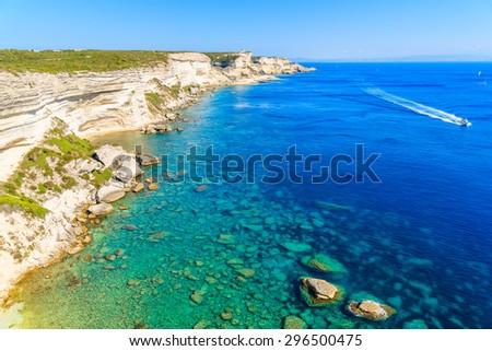 White rock cliffs with beautiful sea bay near Bonifacio town, Corsica island, France - stock photo