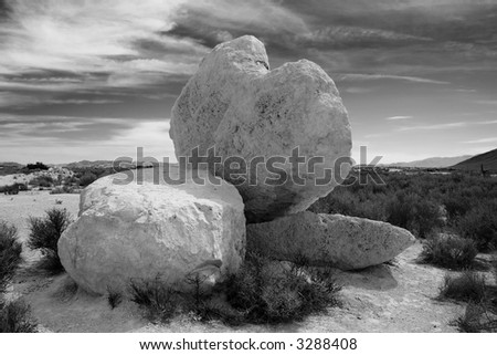 White rock formation in the Nevada desert - stock photo