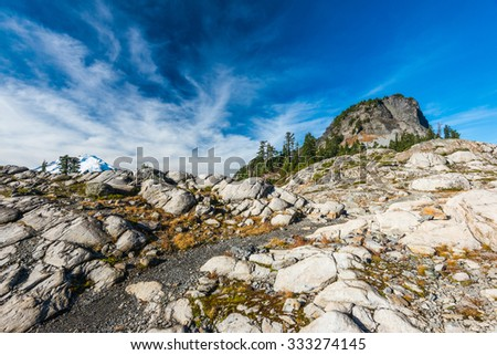 white rock,view in Artist point hiking area,scenic view in Mt. Baker Snoqualmie National Forest Park,Washington,USA. - stock photo
