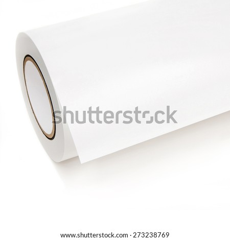White roll of printing paper in front of white background - stock photo