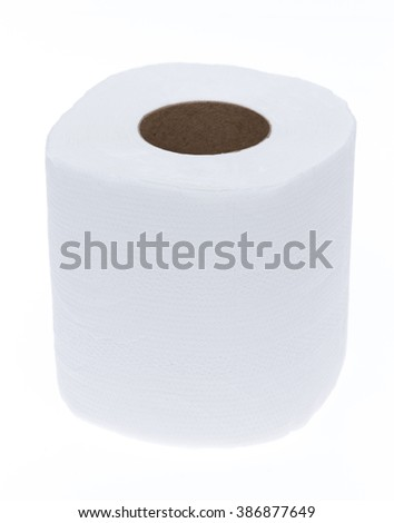 white rolled tissue paper isolated on a white background - stock photo