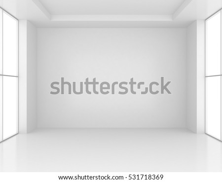 White Room Interior. Empty Wall Background. 3d rendering