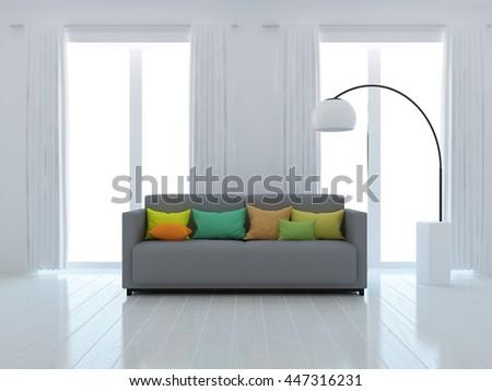 White room interior with sofa. Living room interior. Scandinavian interior. 3d illustration - stock photo