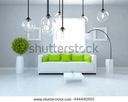 White room. Living room interior. Scandinavian interior. 3d illustration - stock photo