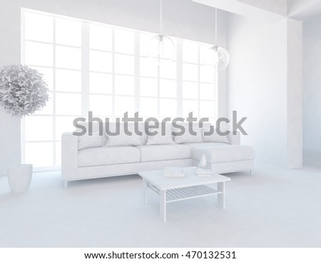 White room. Living room interior. Scandinavian interior. 3d illustration