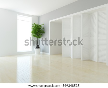 white room with a dresser. Living room interior. Scandinavian interior design. 3d illustration
