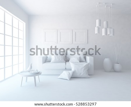 white room furniture. White Room With A Sofa. Living Interior. Scandinavian 3d Illustration Furniture N