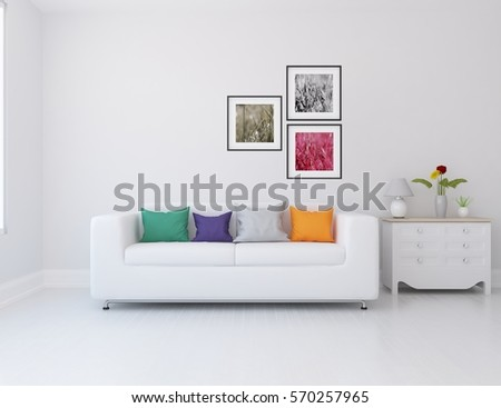 white room with a sofa. Living room interior. Scandinavian interior design. 3d illustration