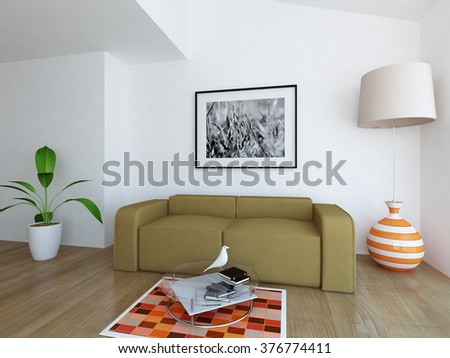 white room with beige sofa. 3d concept