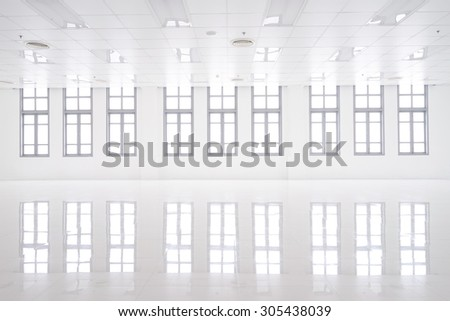 white room with big window and reflection - stock photo