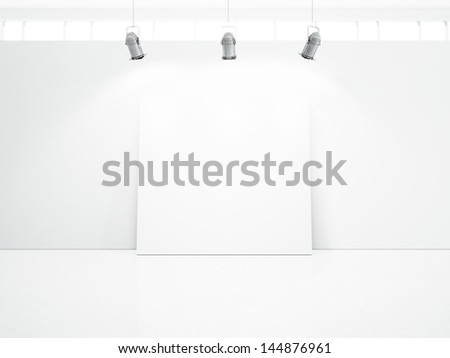 white room with blank poster - stock photo