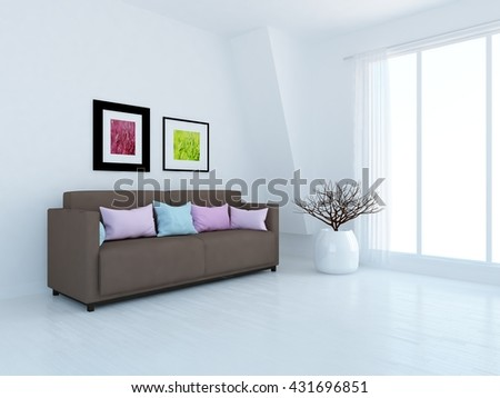 White room with brown sofa. Living room interior. Scandinavian interior. 3d illustration