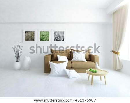white room with brown sofa. Living room interior. Scandinavian interior. 3d illustration - stock photo