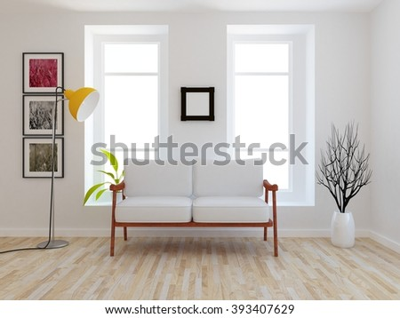 white room with canape.3d interior.3d illustration - stock photo