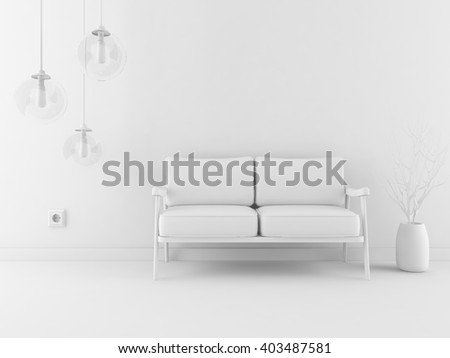 White room with canape. White interior.3d illustration
