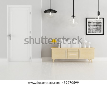 White room with dresser. Living room interior. Scandinavian interior. 3d illustration - stock photo