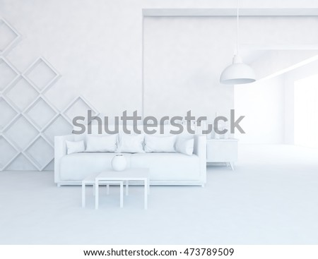 White room with furniture. Living room interior. Scandinavian interior. 3d illustration