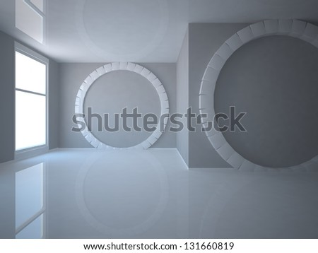 white room with geometric shapes - stock photo