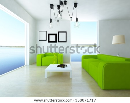white room with green furniture. 3d illustration - stock photo