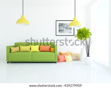 White room with green sofa. Living room interior. Scandinavian interior. 3d illustration - stock photo