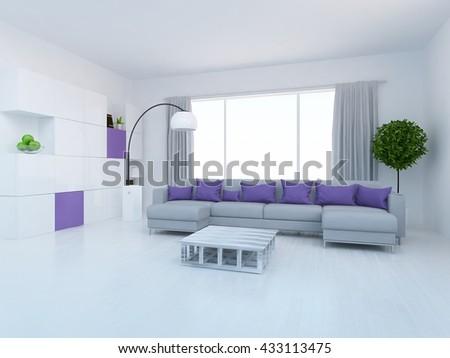 White room with grey sofa. Living room interior. Scandinavian interior. 3d illustrtation - stock photo