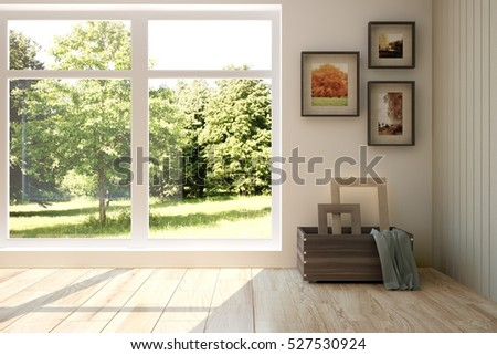 White Room With Modern Furniture And Green Landscape In Window.  Scandinavian Interior Design. 3D