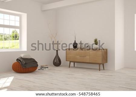 Idea White Minimalist Room Sofa Scandinavian Stock Illustration ...
