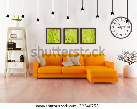white room with orange sofa.3d interior.3d illustration - stock photo