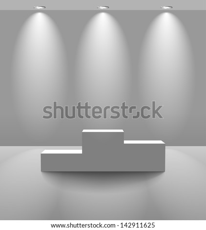 White room with pedestal and lamps on the rear wall - stock photo