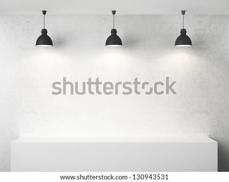 white room with presentation cube and three lamp - stock photo