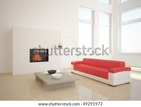 white room with red sofa