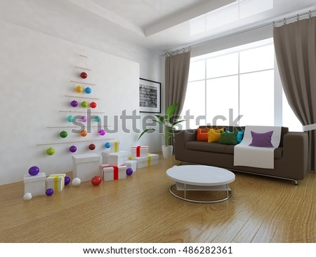White room with sofa and christmas. Christmas living room interior. Scandinavian interior. 3d illustration