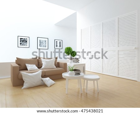 White Room Sofa Dresser Living Room Stock Illustration 475438021 ...