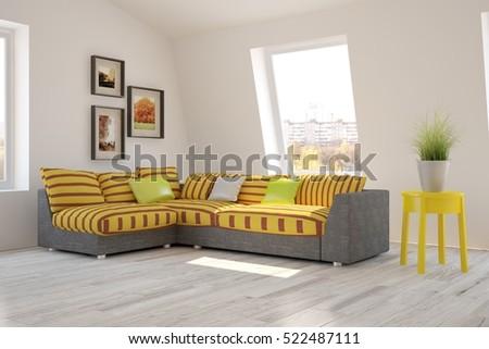 Stylish Designed Boy Teenagers Bedroom Grey Stock Photo