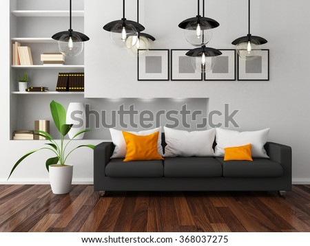 white room with sofa.3d illustration - stock photo