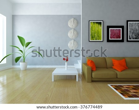 white room with sofa. 3d illustration - stock photo