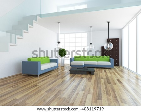 white room with sofa. 3d illustration