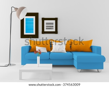 white room with sofa. 3d interior - stock photo